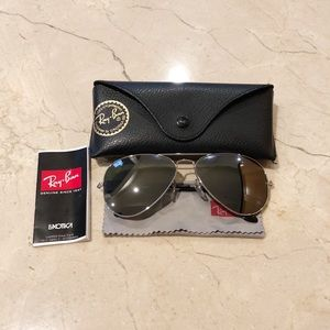 Ray-Ban large aviator silver mirrored sunglasses